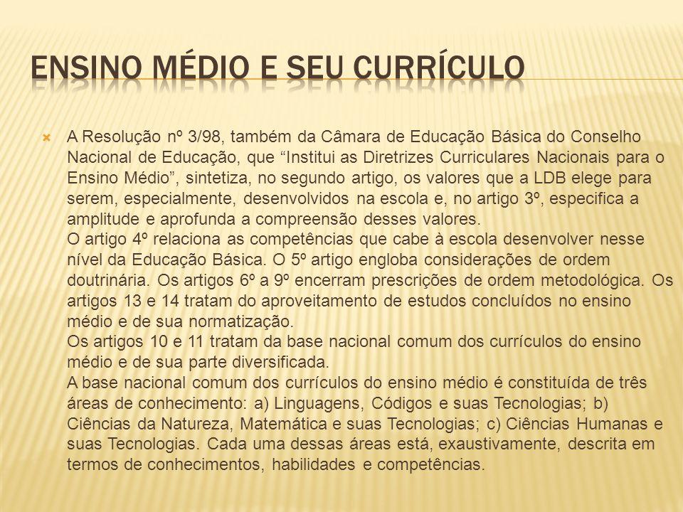 Ensino médio e seu currículo