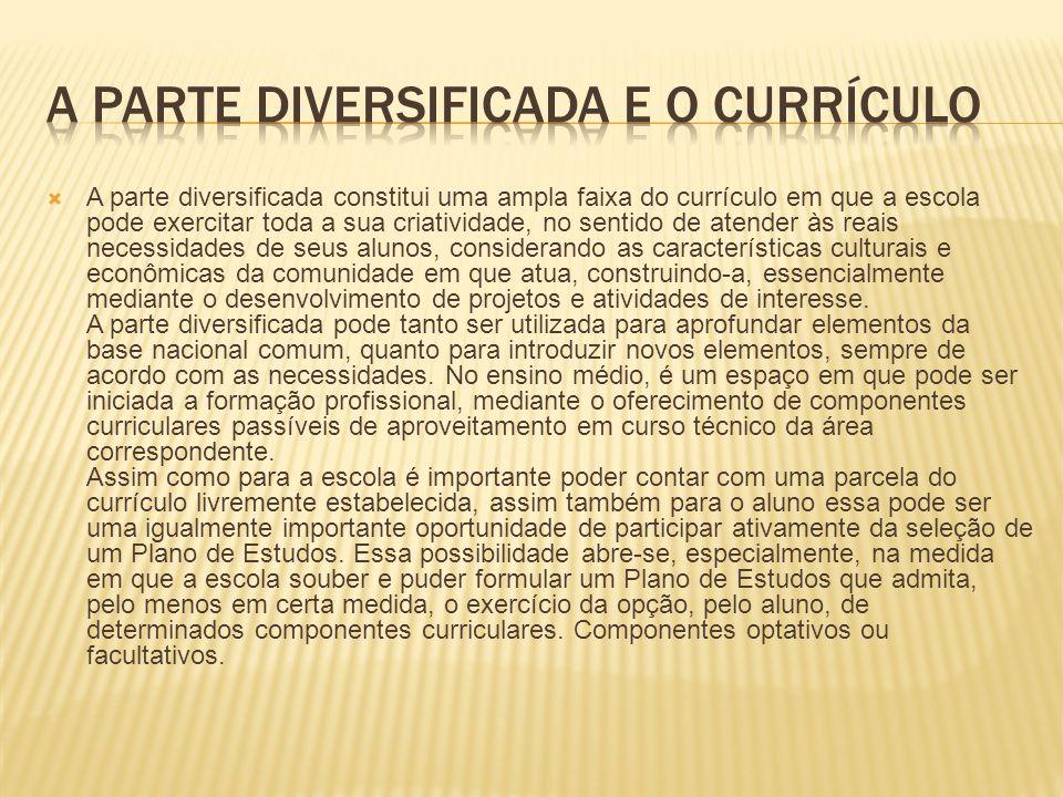 A parte diversificada e o currículo