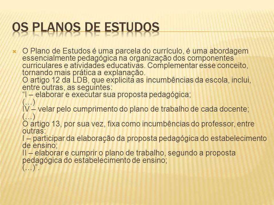Os planos de estudos