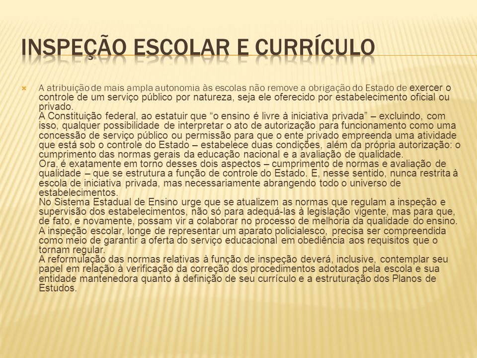 Inspeção escolar e currículo