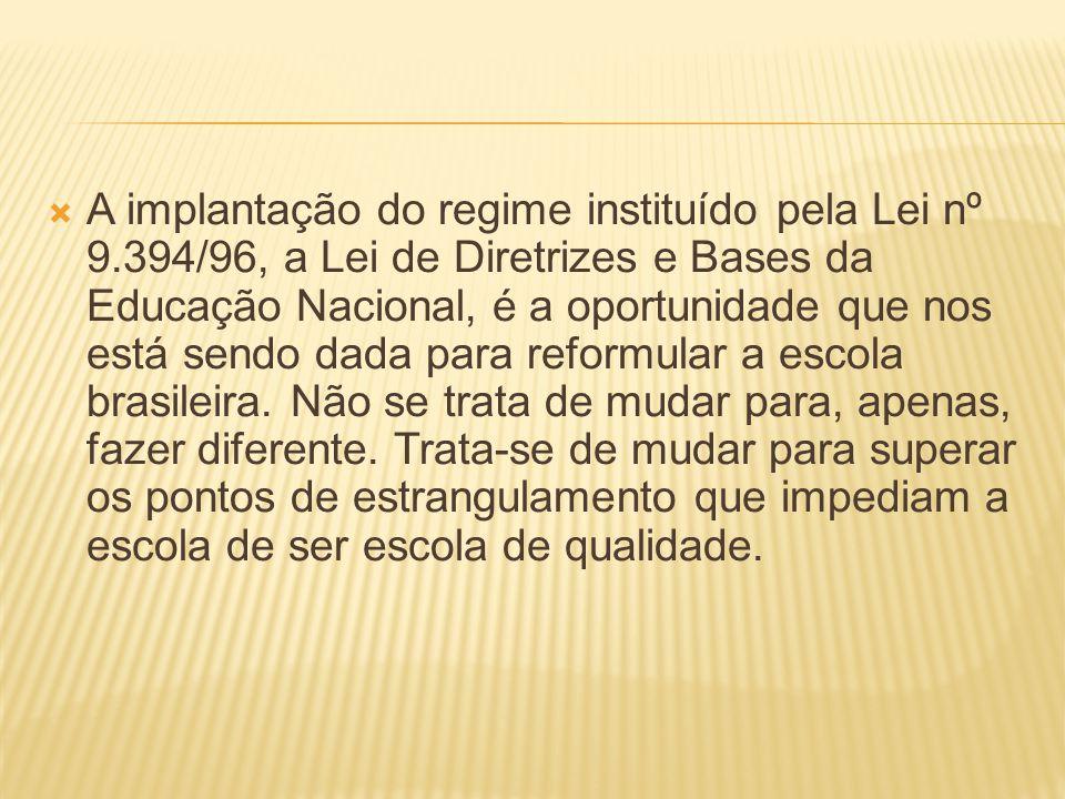 A implantação do regime instituído pela Lei nº 9