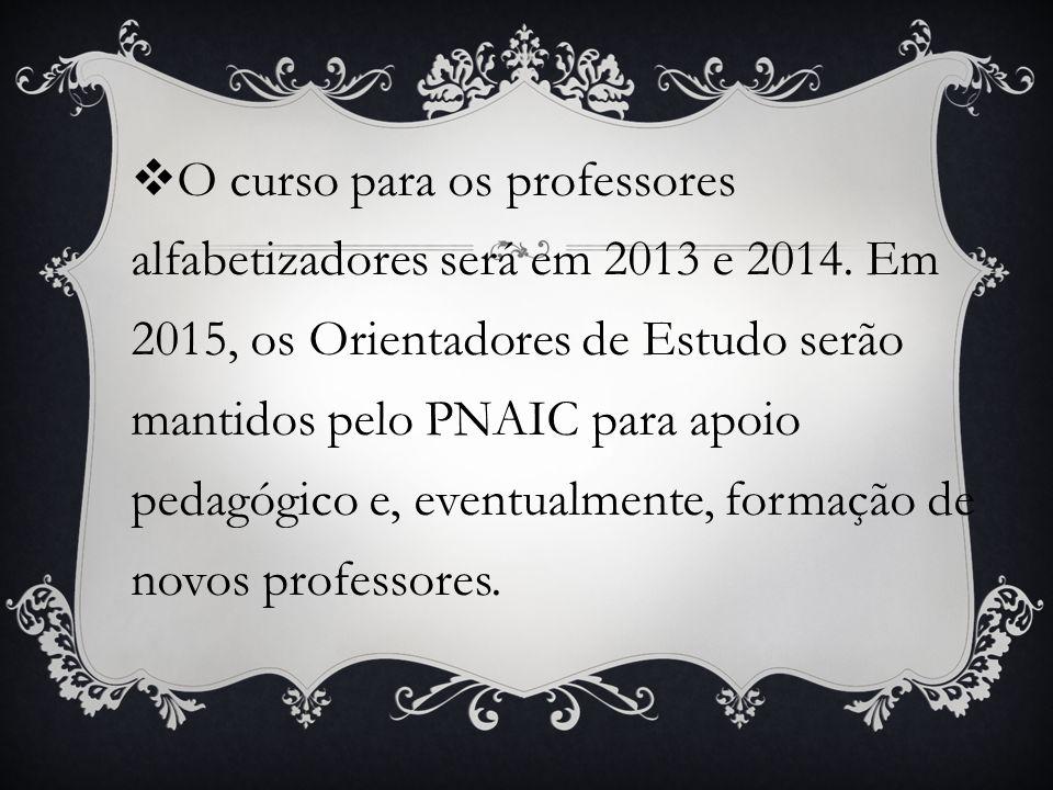 O curso para os professores alfabetizadores será em 2013 e 2014