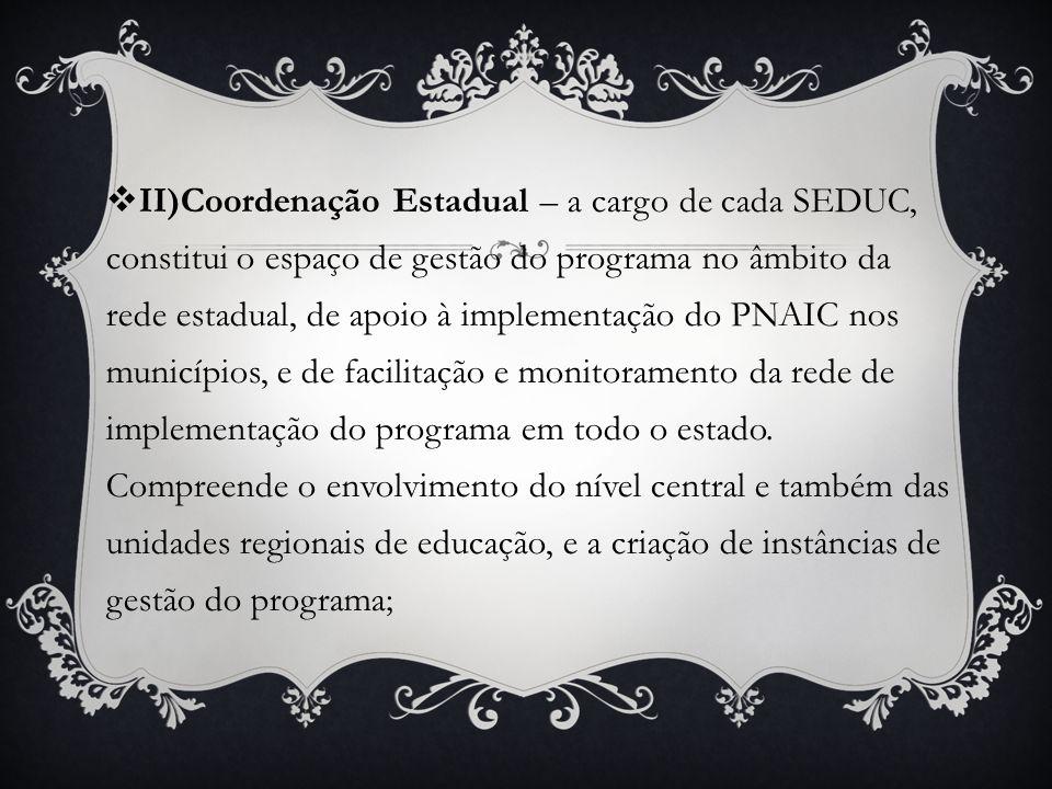 II)Coordenação Estadual – a cargo de cada SEDUC, constitui o espaço de gestão do programa no âmbito da rede estadual, de apoio à implementação do PNAIC nos municípios, e de facilitação e monitoramento da rede de implementação do programa em todo o estado.