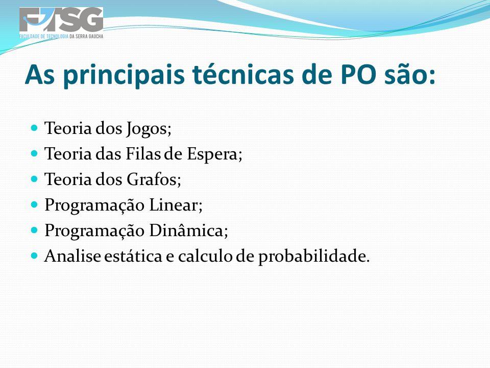 As principais técnicas de PO são: