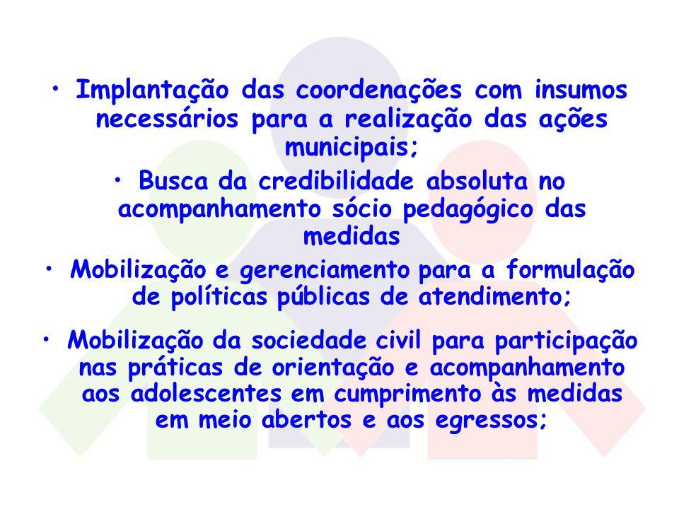 Implantação das coordenações com insumos necessários para a realização das ações municipais;