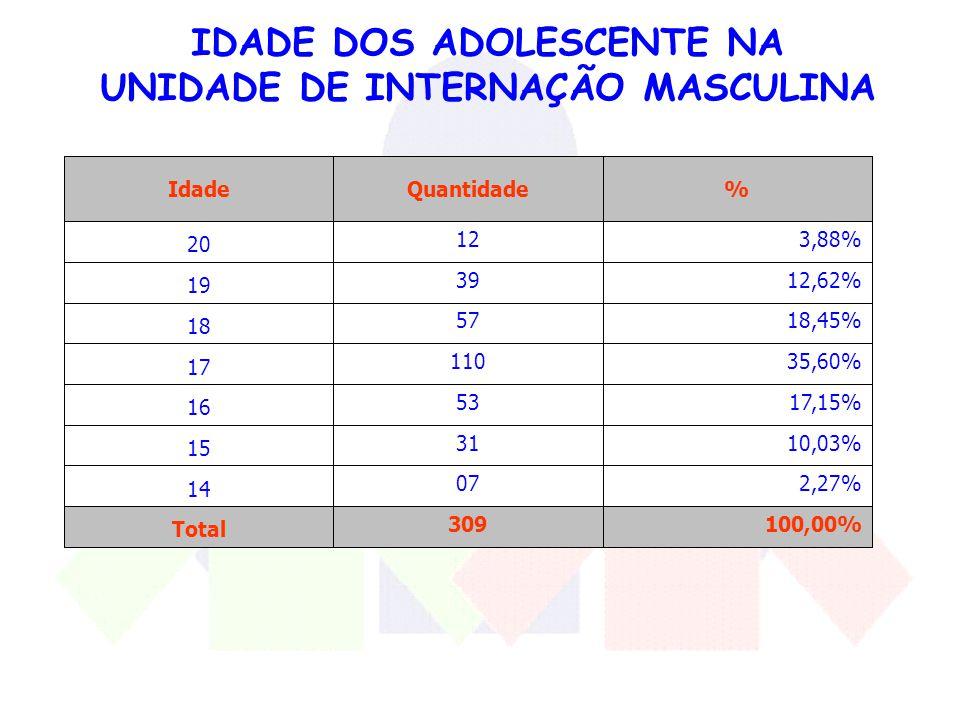 IDADE DOS ADOLESCENTE NA UNIDADE DE INTERNAÇÃO MASCULINA