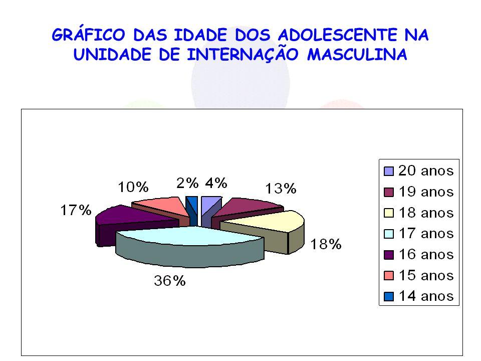 GRÁFICO DAS IDADE DOS ADOLESCENTE NA UNIDADE DE INTERNAÇÃO MASCULINA