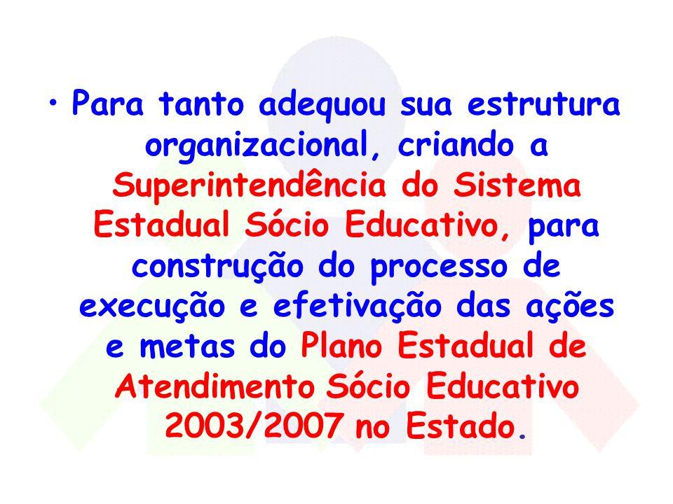 Para tanto adequou sua estrutura organizacional, criando a Superintendência do Sistema Estadual Sócio Educativo, para construção do processo de execução e efetivação das ações e metas do Plano Estadual de Atendimento Sócio Educativo 2003/2007 no Estado.