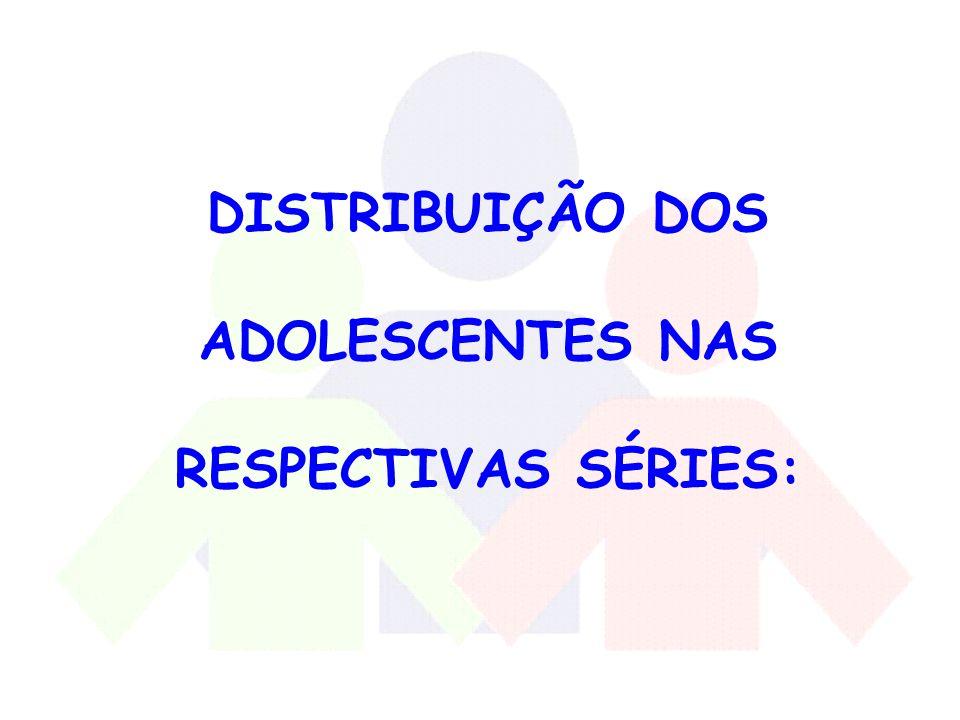 DISTRIBUIÇÃO DOS ADOLESCENTES NAS RESPECTIVAS SÉRIES: