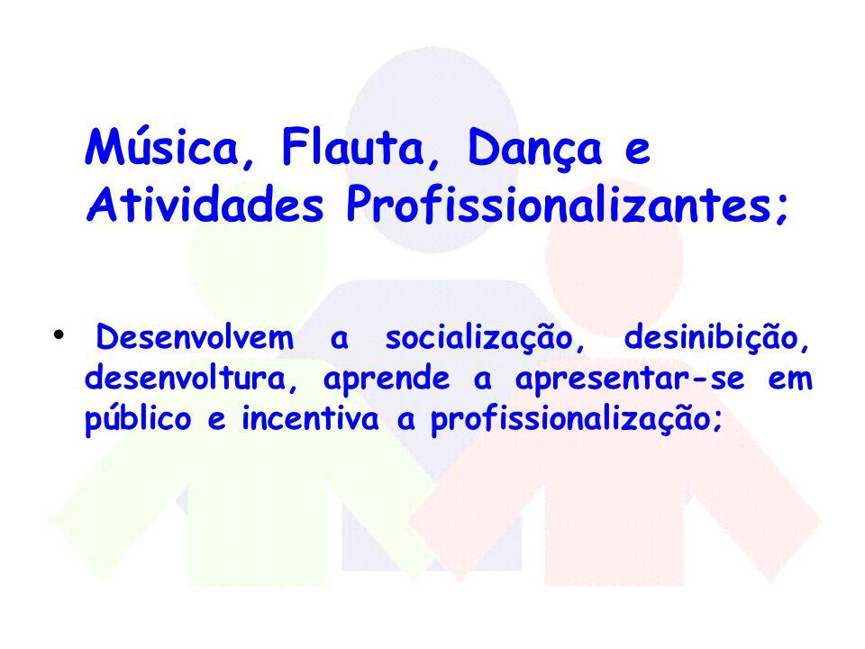 Música, Flauta, Dança e Atividades Profissionalizantes;