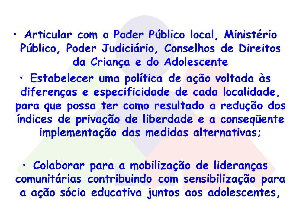 Articular com o Poder Público local, Ministério Público, Poder Judiciário, Conselhos de Direitos da Criança e do Adolescente