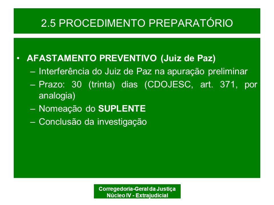 2.5 PROCEDIMENTO PREPARATÓRIO