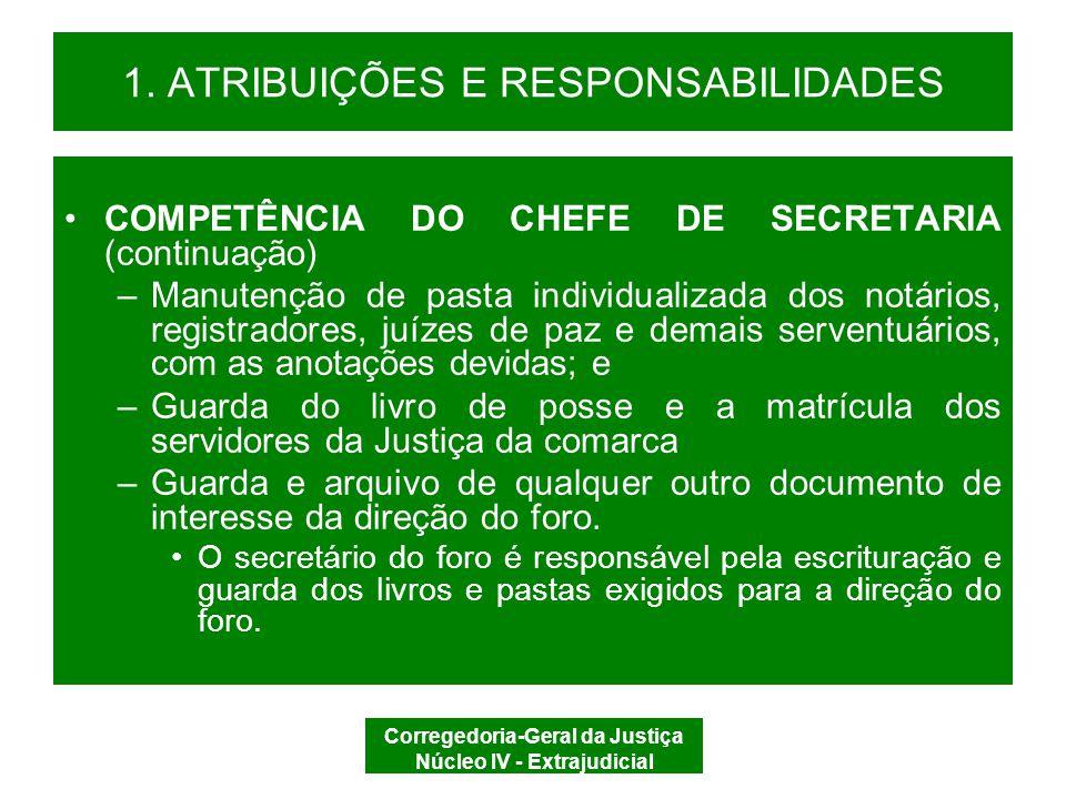 1. ATRIBUIÇÕES E RESPONSABILIDADES