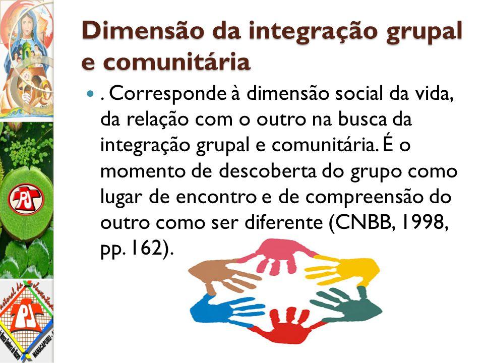 Dimensão da integração grupal e comunitária