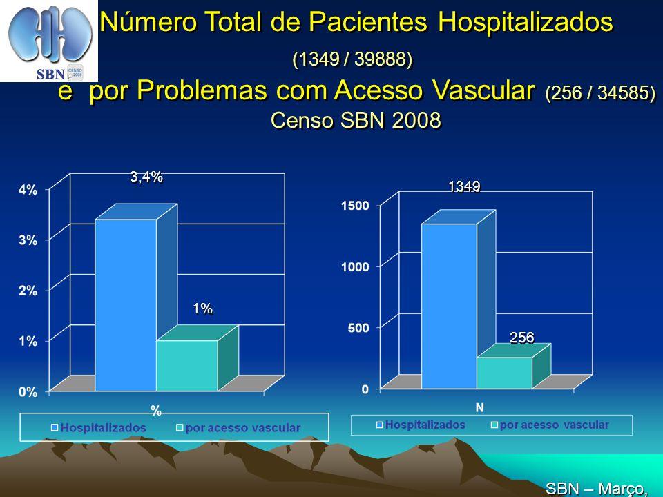 Número Total de Pacientes Hospitalizados (1349 / 39888) e por Problemas com Acesso Vascular (256 / 34585) Censo SBN 2008