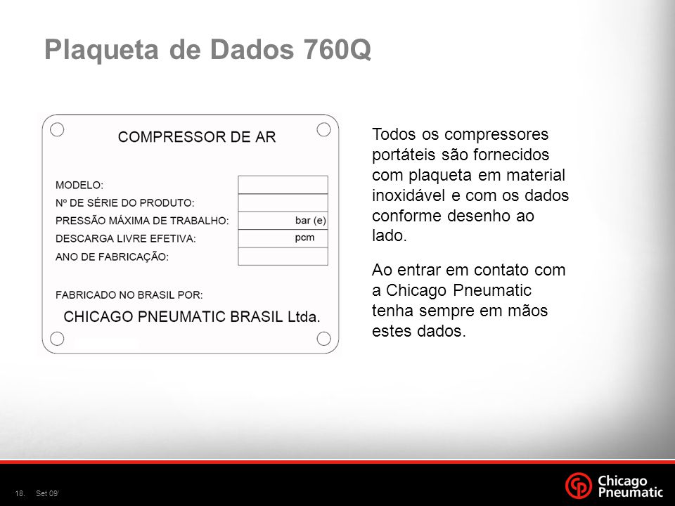 Plaqueta de Dados 760Q Todos os compressores portáteis são fornecidos com plaqueta em material inoxidável e com os dados conforme desenho ao lado.
