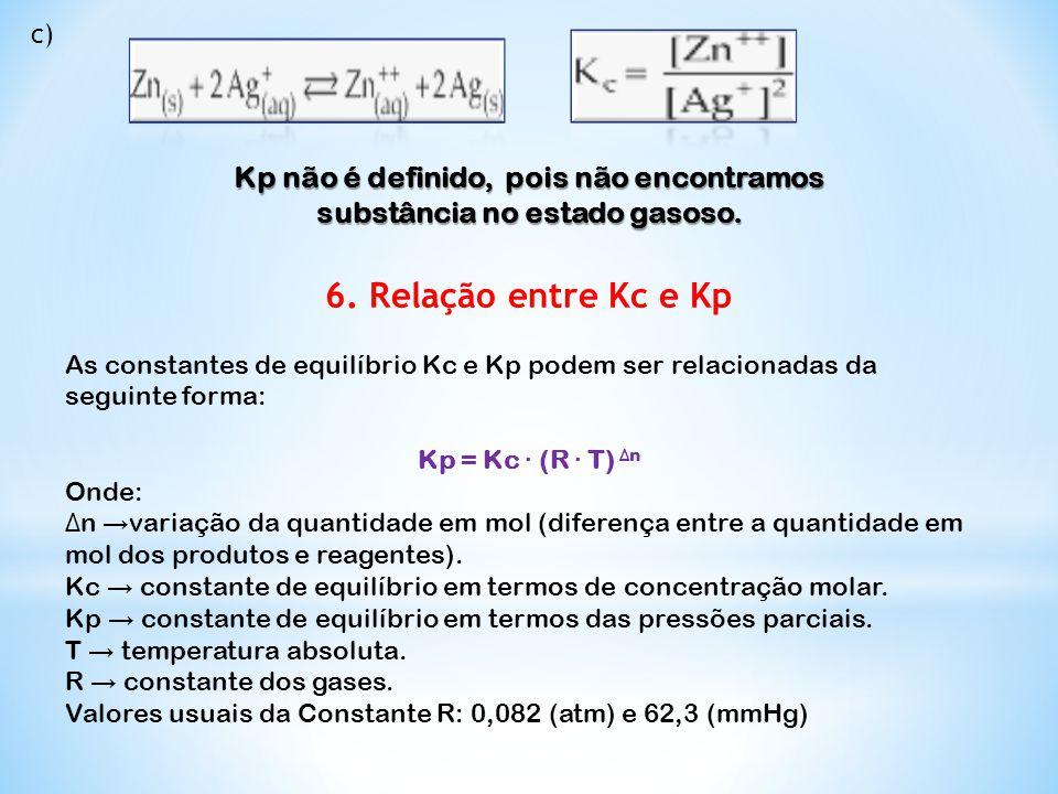 Kp não é definido, pois não encontramos substância no estado gasoso.