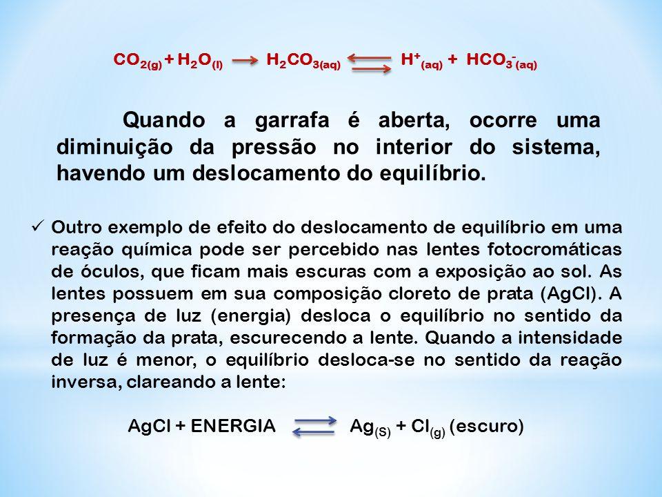CO2(g) + H2O(l) H2CO3(aq) H+(aq) + HCO3-(aq)