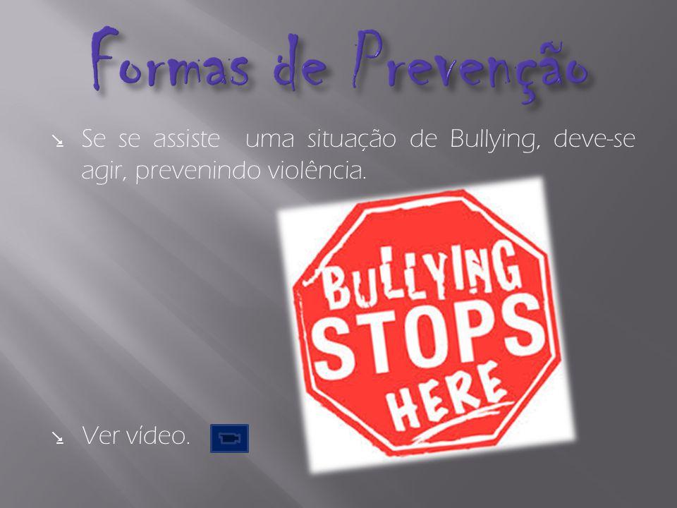 Formas de Prevenção Se se assiste uma situação de Bullying, deve-se agir, prevenindo violência.