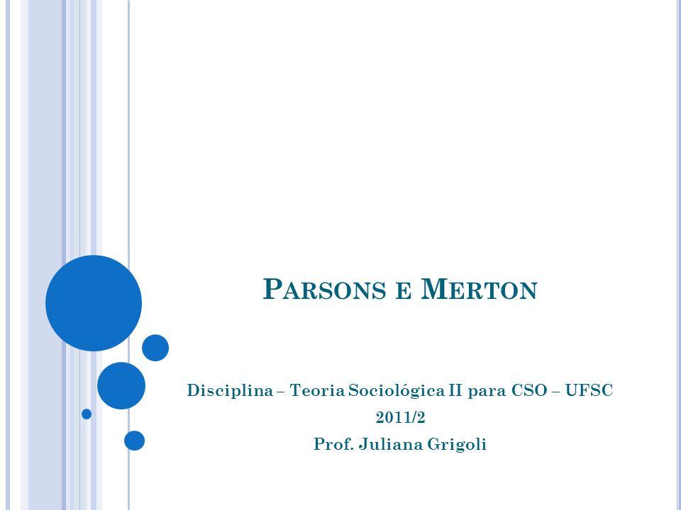Parsons e Merton Disciplina – Teoria Sociológica II para CSO – UFSC 2011/2 Prof. Juliana Grigoli