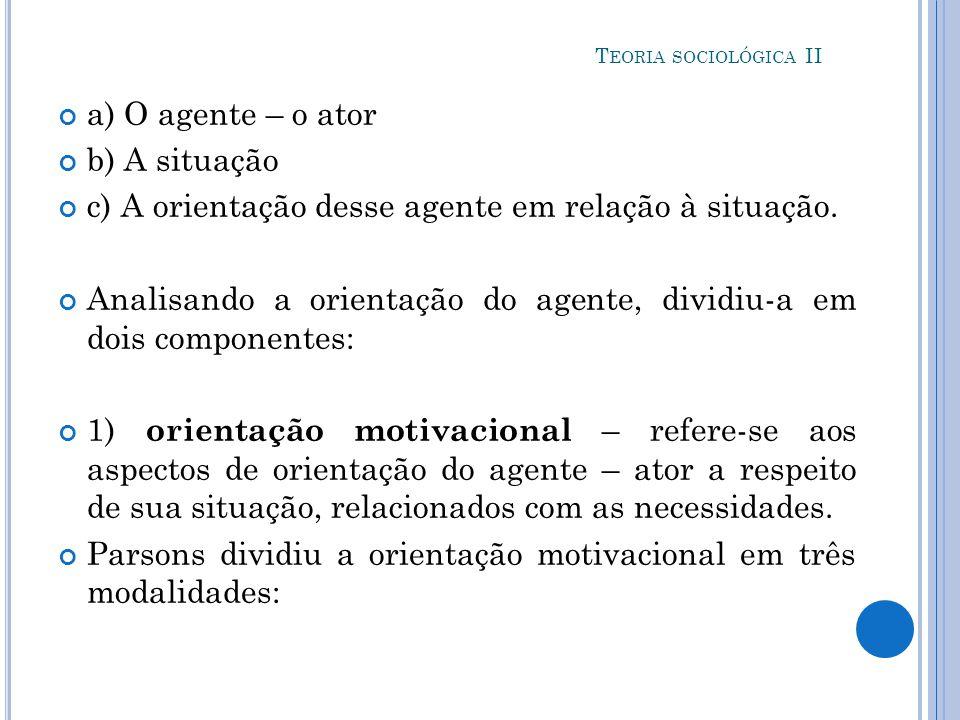 c) A orientação desse agente em relação à situação.
