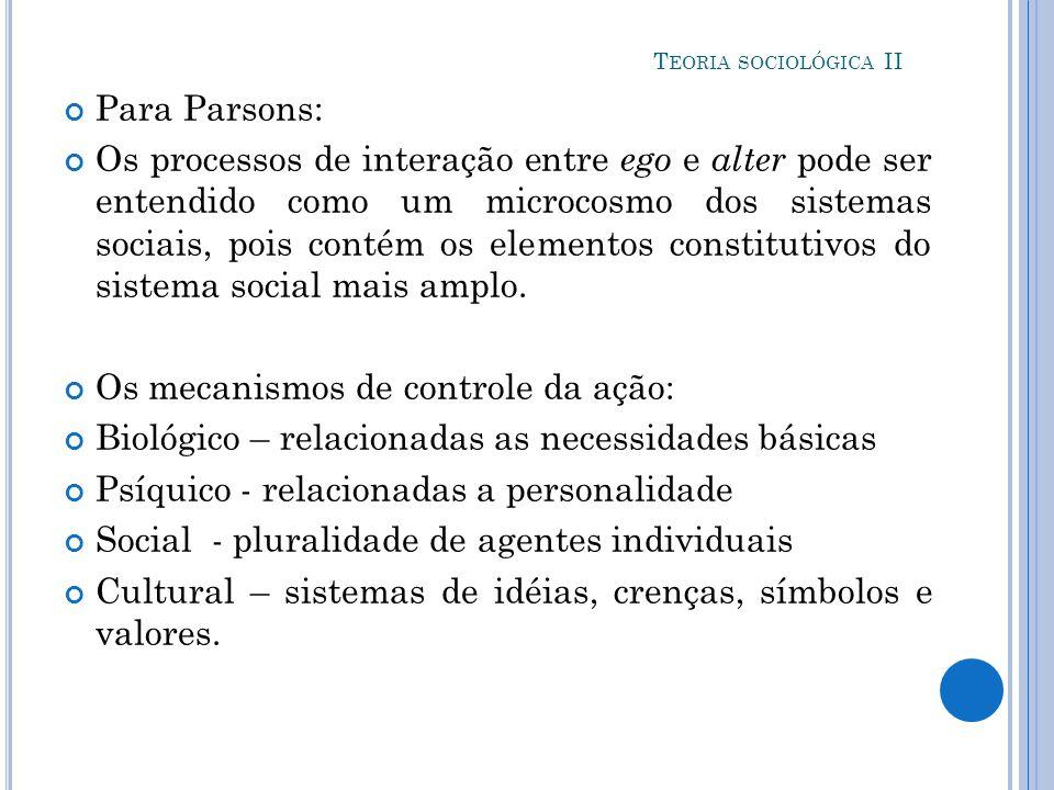 Os mecanismos de controle da ação: