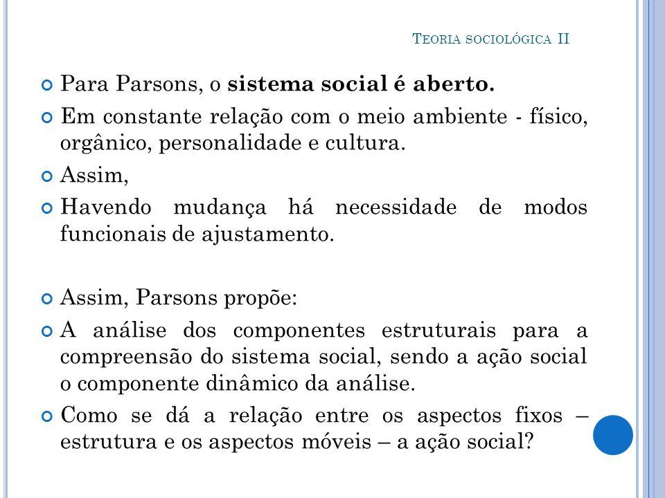 Para Parsons, o sistema social é aberto.
