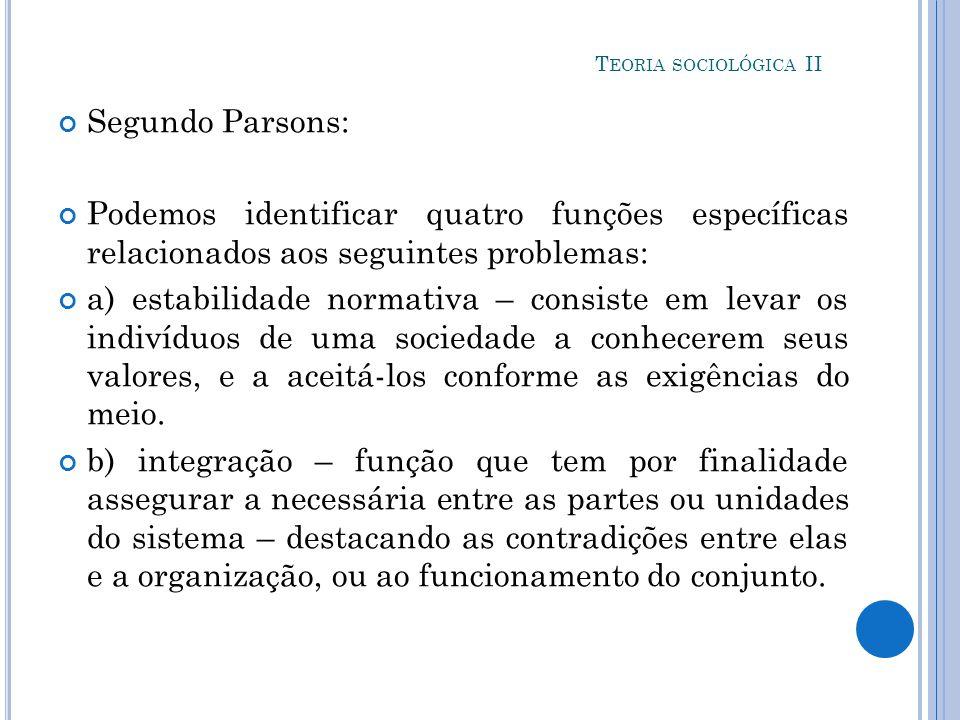 Teoria sociológica II Segundo Parsons: Podemos identificar quatro funções específicas relacionados aos seguintes problemas: