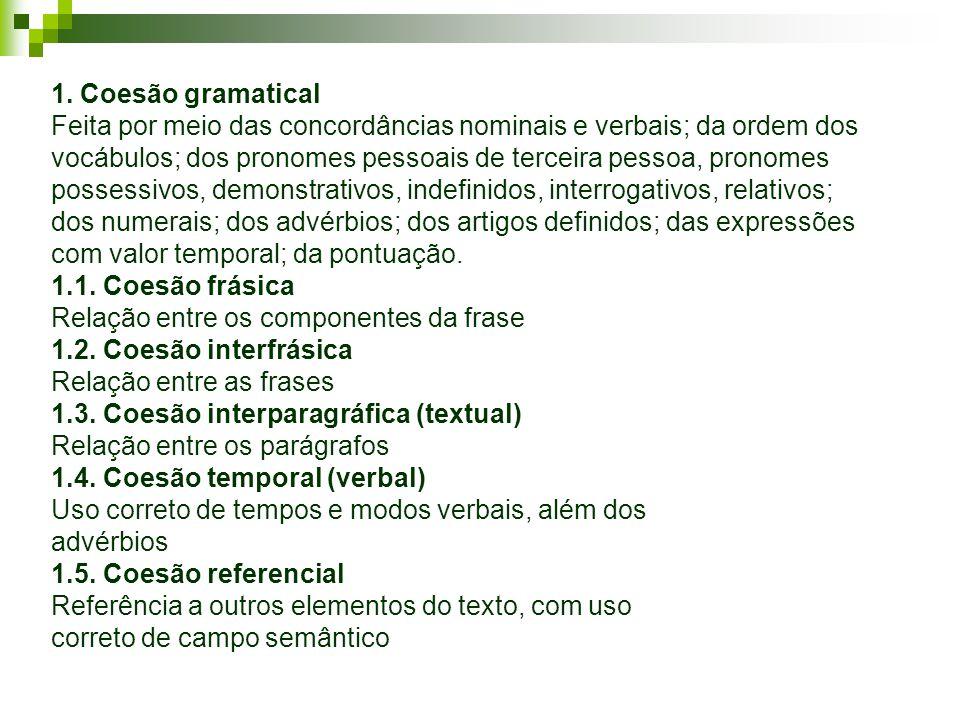 1. Coesão gramatical