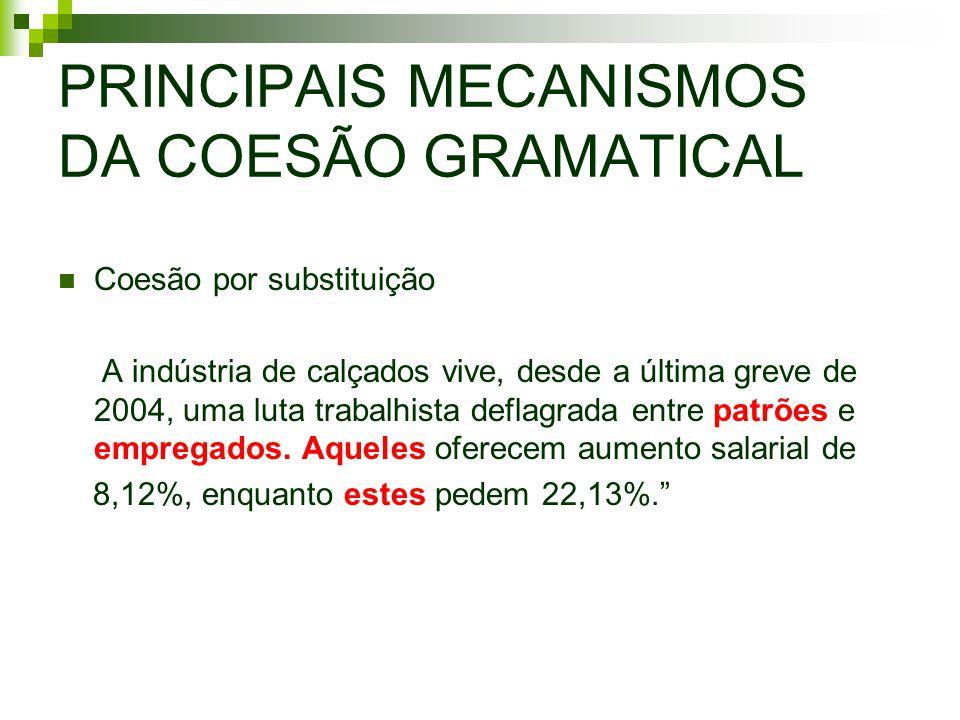 PRINCIPAIS MECANISMOS DA COESÃO GRAMATICAL