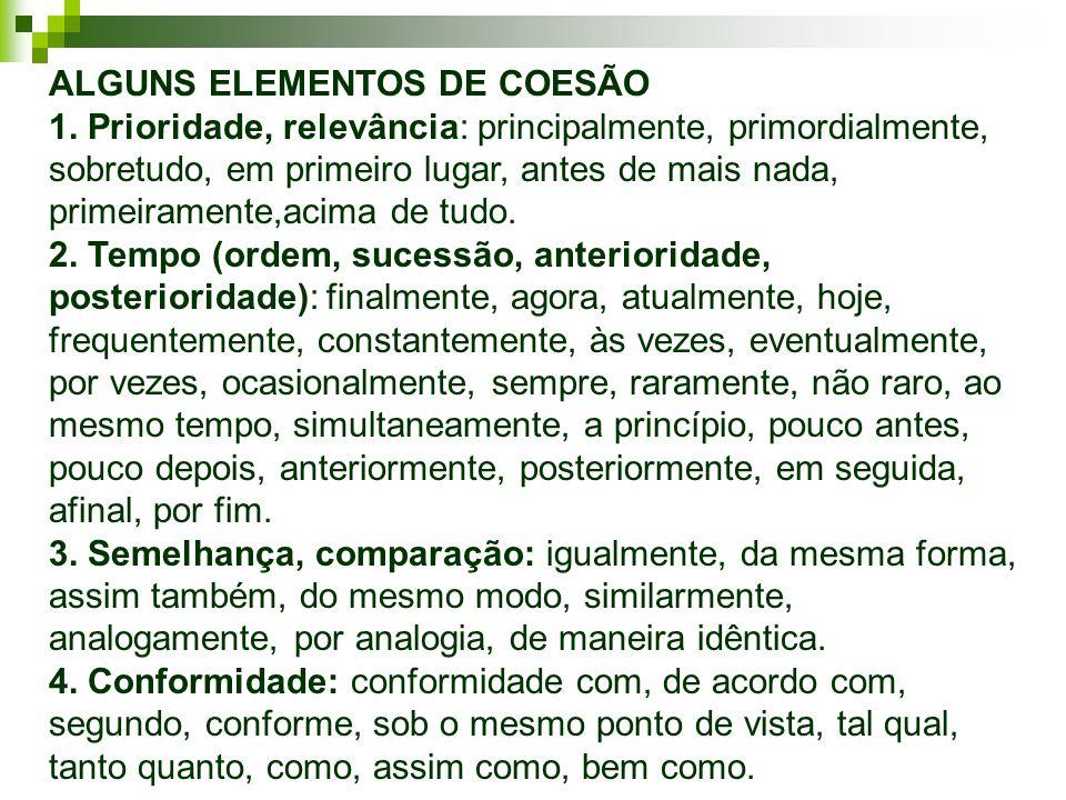 ALGUNS ELEMENTOS DE COESÃO