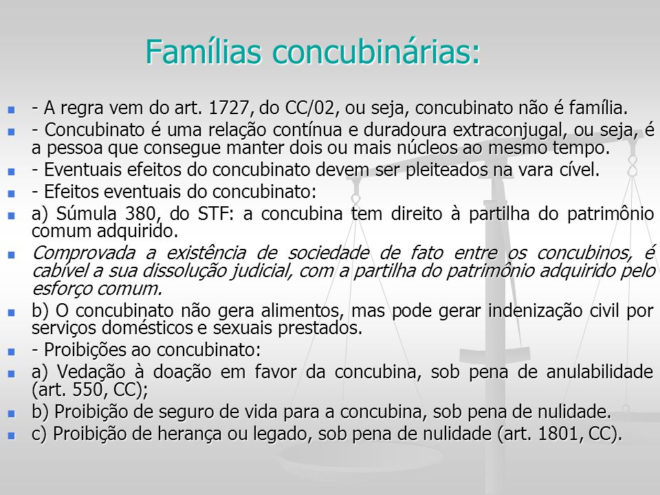 Famílias concubinárias: