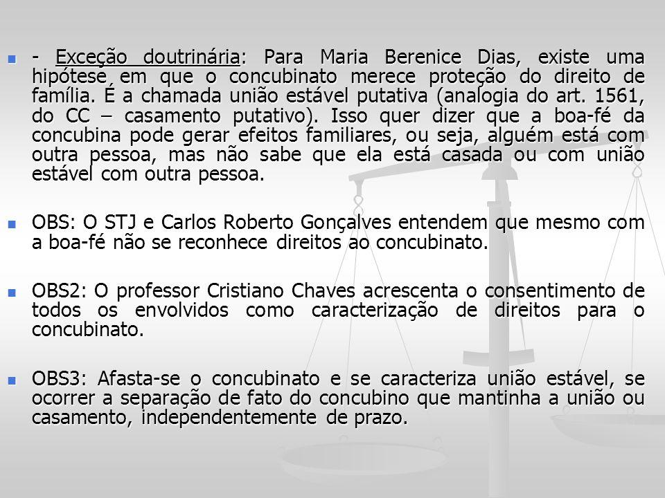 - Exceção doutrinária: Para Maria Berenice Dias, existe uma hipótese em que o concubinato merece proteção do direito de família. É a chamada união estável putativa (analogia do art. 1561, do CC – casamento putativo). Isso quer dizer que a boa-fé da concubina pode gerar efeitos familiares, ou seja, alguém está com outra pessoa, mas não sabe que ela está casada ou com união estável com outra pessoa.