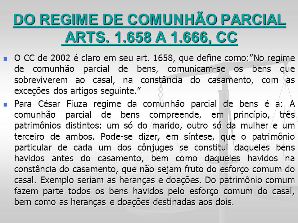 DO REGIME DE COMUNHÃO PARCIAL ARTS. 1.658 A 1.666, CC