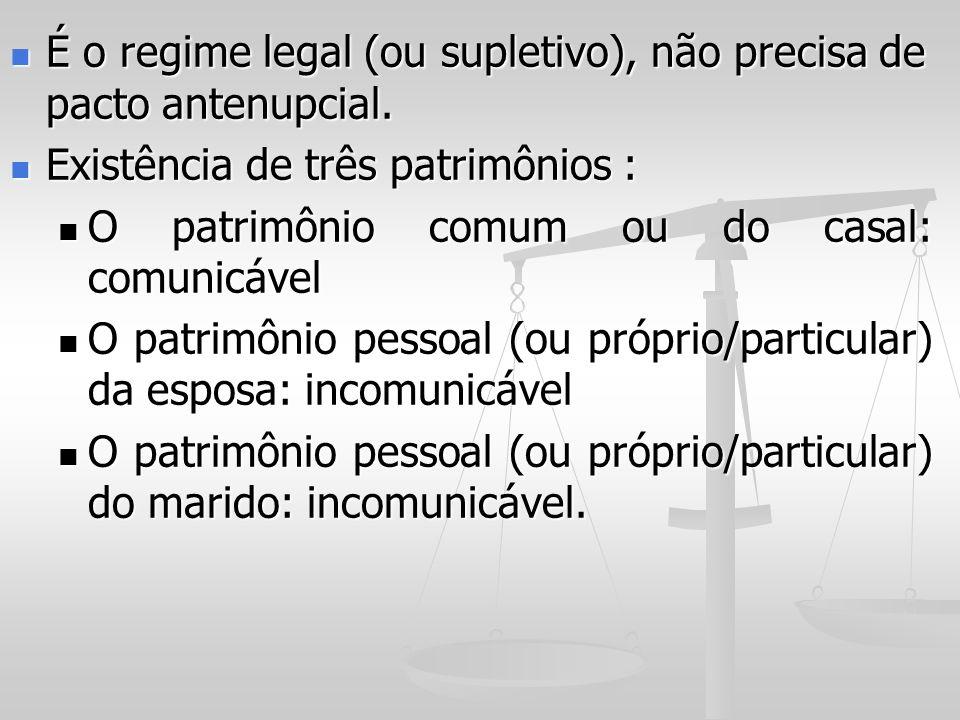 É o regime legal (ou supletivo), não precisa de pacto antenupcial.