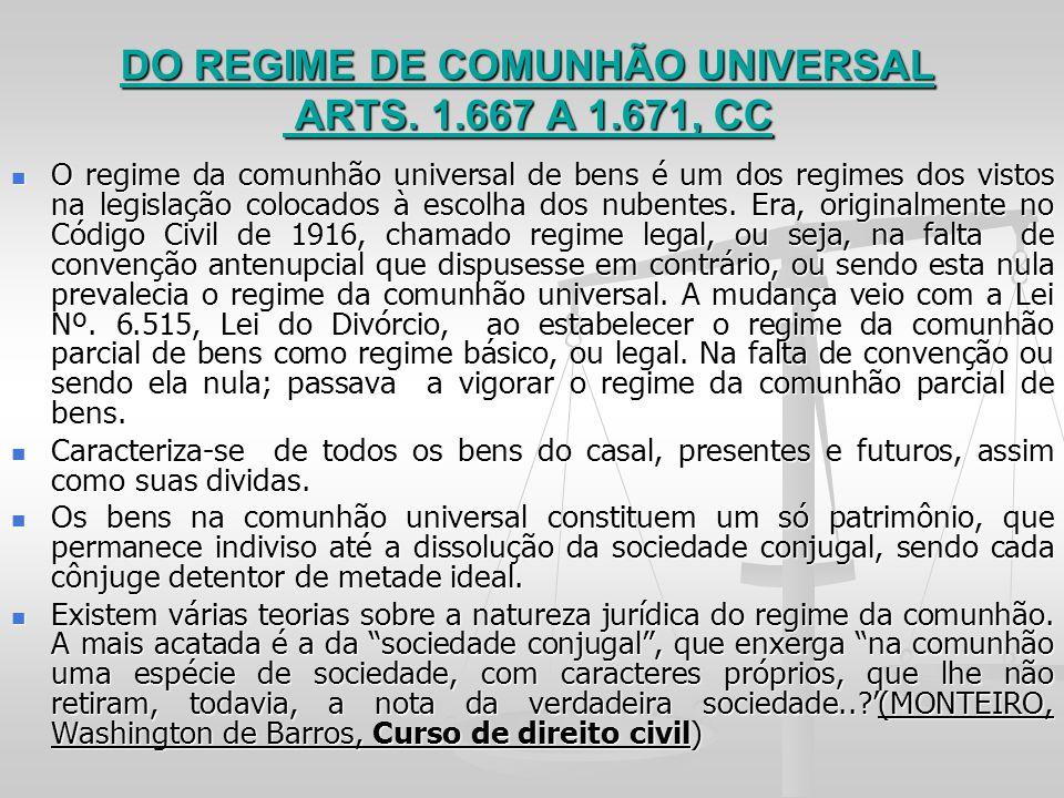 DO REGIME DE COMUNHÃO UNIVERSAL ARTS. 1.667 A 1.671, CC