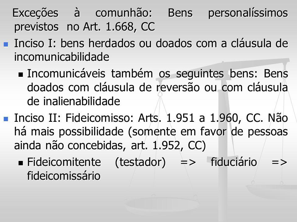 Inciso I: bens herdados ou doados com a cláusula de incomunicabilidade