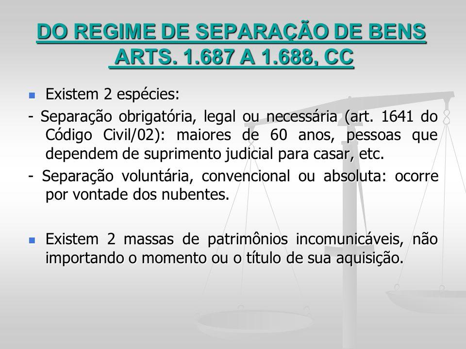 DO REGIME DE SEPARAÇÃO DE BENS ARTS. 1.687 A 1.688, CC