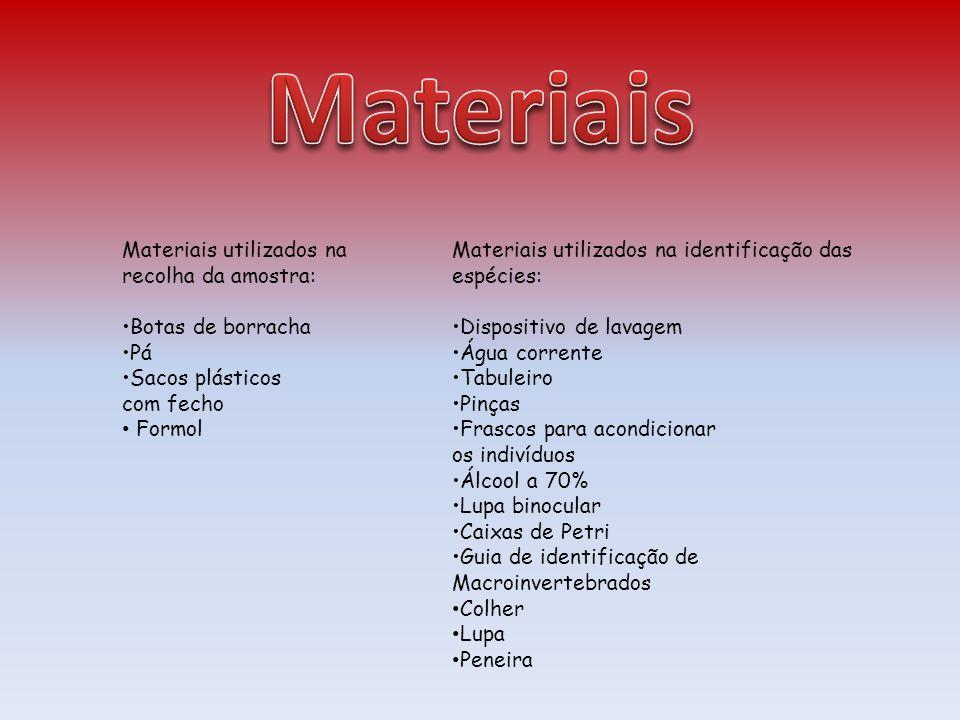 Materiais Materiais utilizados na recolha da amostra: