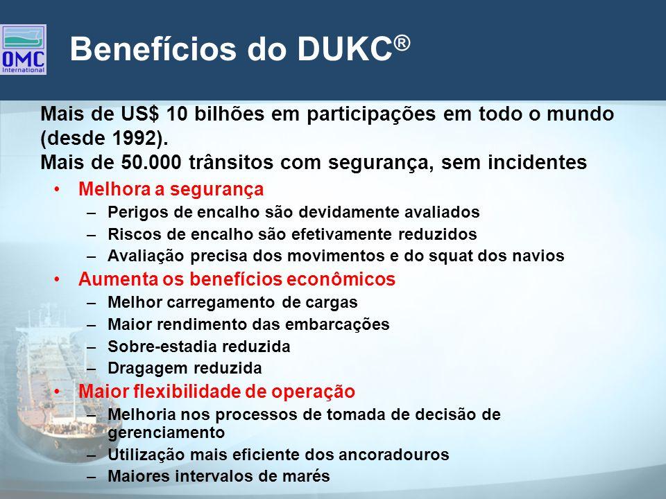 Benefícios do DUKC® Mais de US$ 10 bilhões em participações em todo o mundo (desde 1992). Mais de 50.000 trânsitos com segurança, sem incidentes.