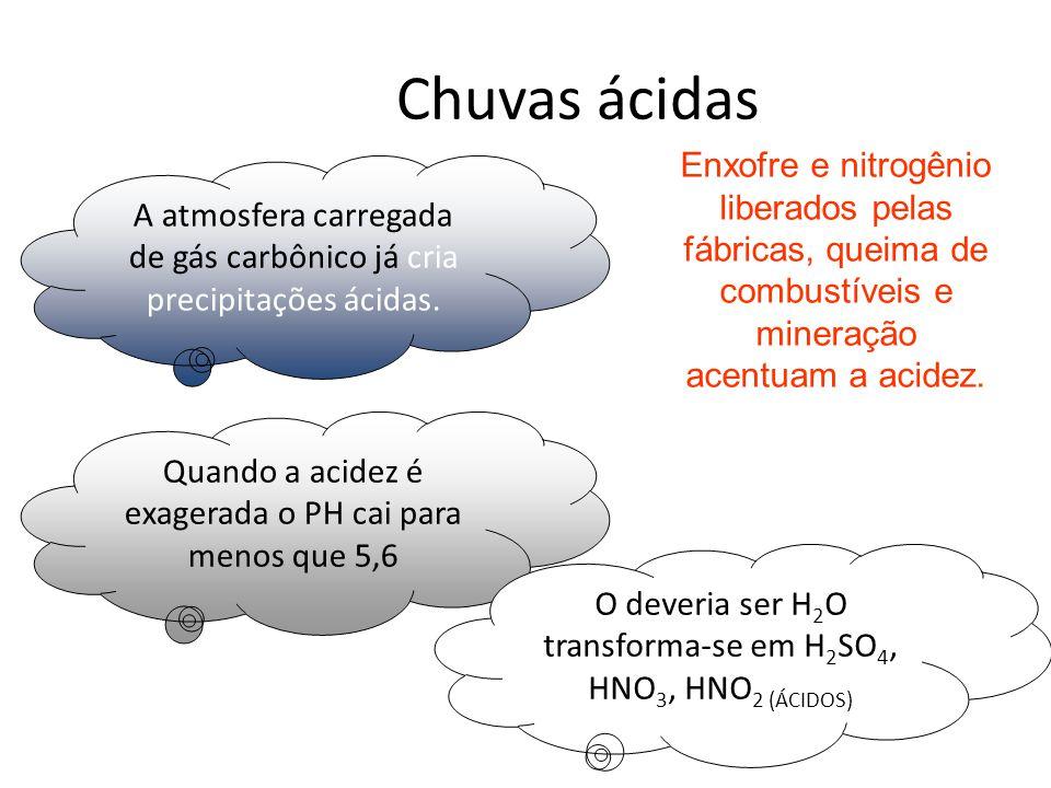 Chuvas ácidas Enxofre e nitrogênio liberados pelas fábricas, queima de combustíveis e mineração acentuam a acidez.