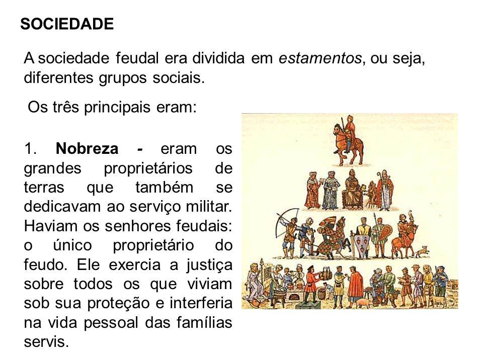 SOCIEDADE A sociedade feudal era dividida em estamentos, ou seja, diferentes grupos sociais. Os três principais eram: