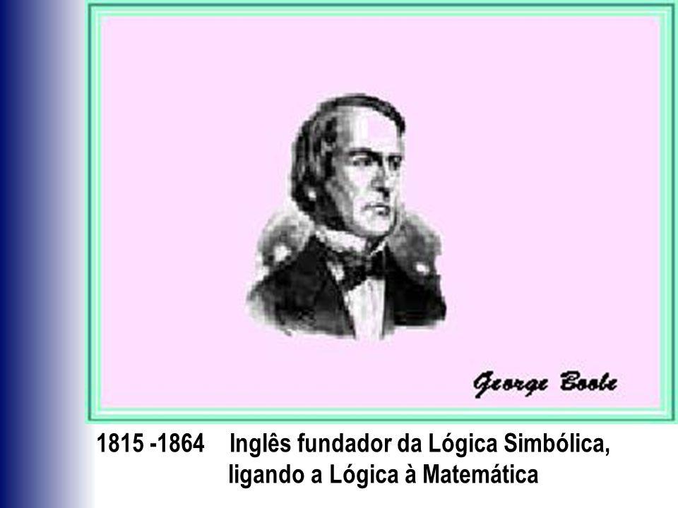 1815 -1864 Inglês fundador da Lógica Simbólica,