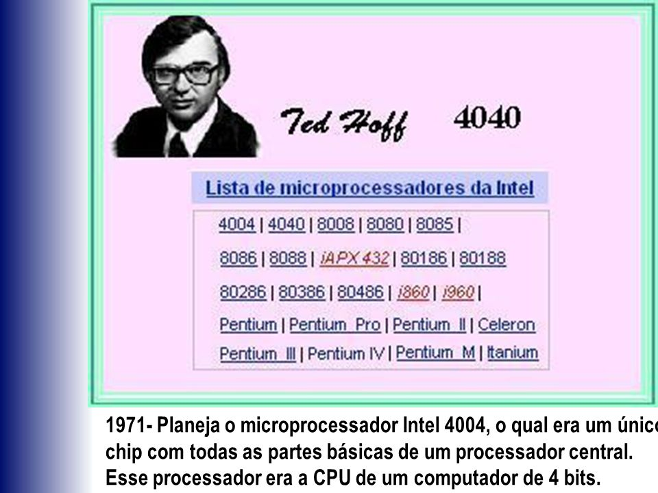 1971- Planeja o microprocessador Intel 4004, o qual era um único