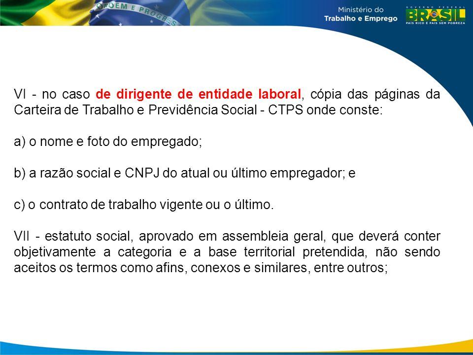 VI - no caso de dirigente de entidade laboral, cópia das páginas da Carteira de Trabalho e Previdência Social - CTPS onde conste:
