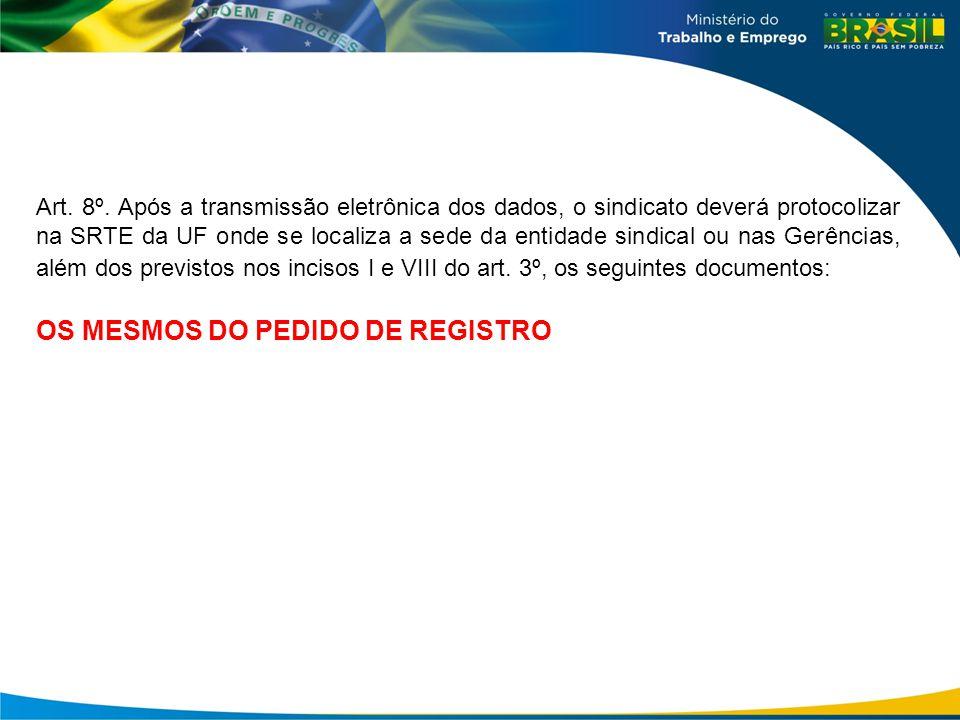 OS MESMOS DO PEDIDO DE REGISTRO