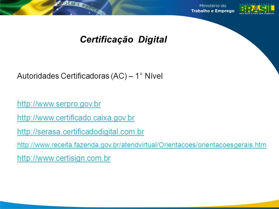 Certificação Digital Autoridades Certificadoras (AC) – 1° Nível