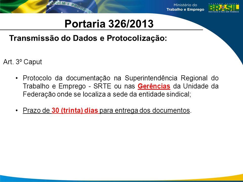 Portaria 326/2013 Transmissão do Dados e Protocolização: Art. 3º Caput