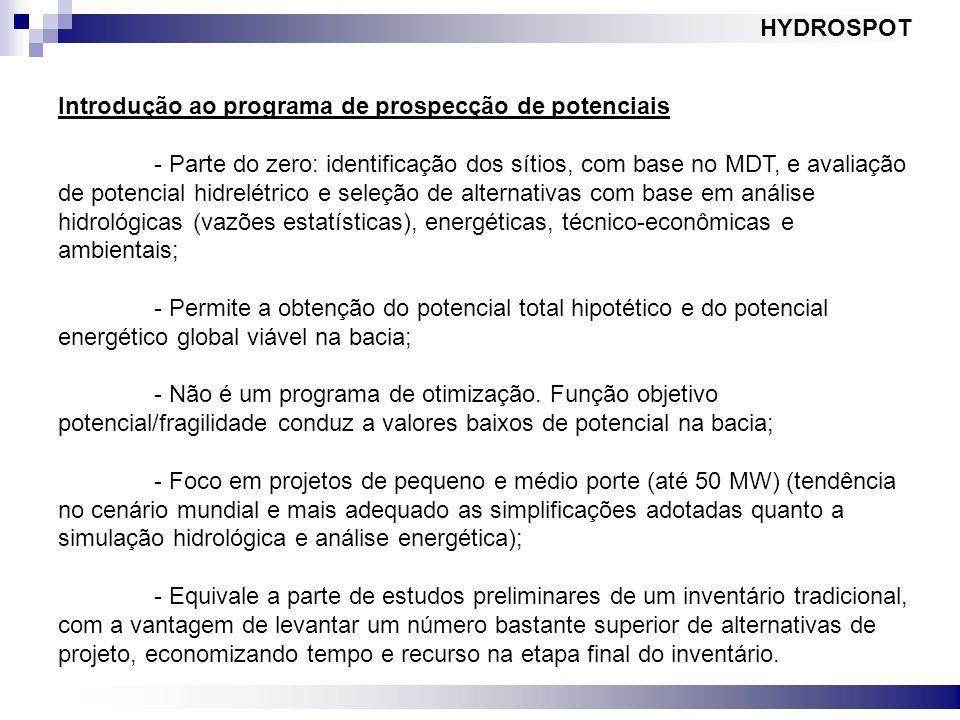 HYDROSPOT Introdução ao programa de prospecção de potenciais.