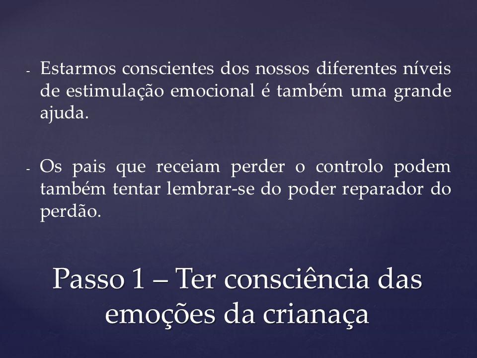Passo 1 – Ter consciência das emoções da crianaça